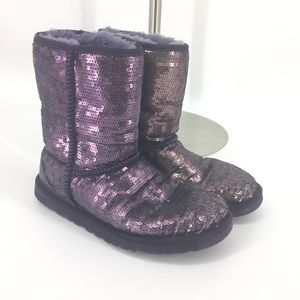 Ugg size 8 Purple sequin Boots